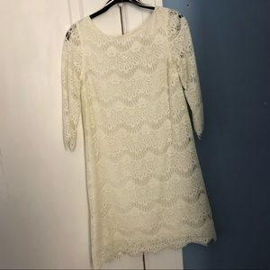 ZARA 3 quarter sleeve white lace dress